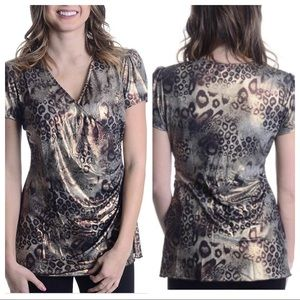 Joseph Ribkoff leopard Print Faux Wrap Blouse.